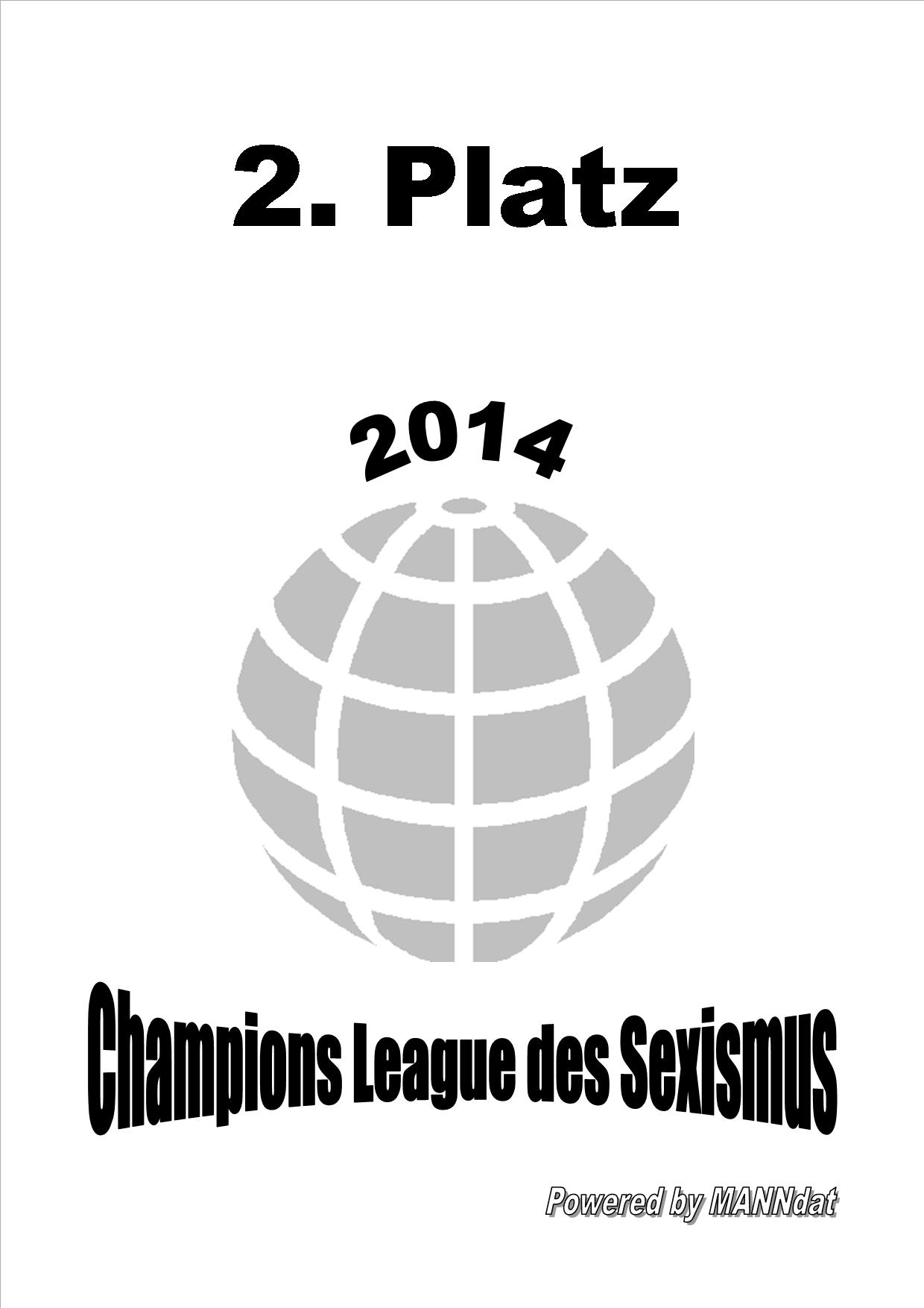 Chanpions League des Sexismus, zweiter Platz